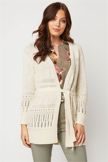 Pointelle Tape Yarn Cardigan
