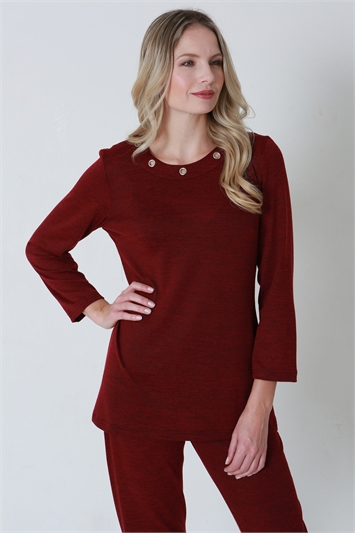 Julianna Eyelet Neck Lounge Top