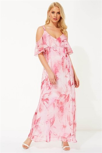 Feather Print Cold Shoulder Maxi Dress