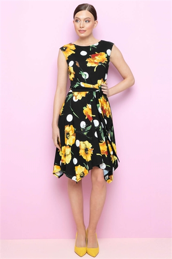 Floral Spot Hanky Hem Dress