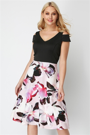 Fit and Flare Print Skirt Dress