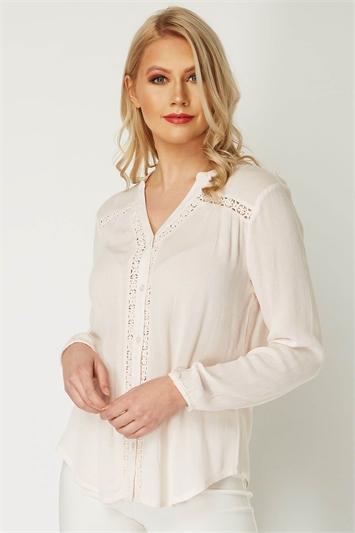 Lace Insert Long Sleeve Overshirt