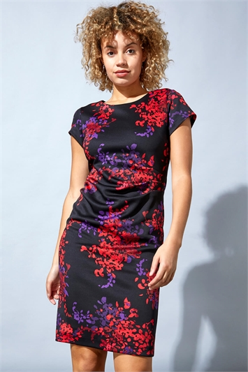 Floral Print Ruched Waist Scuba Dress