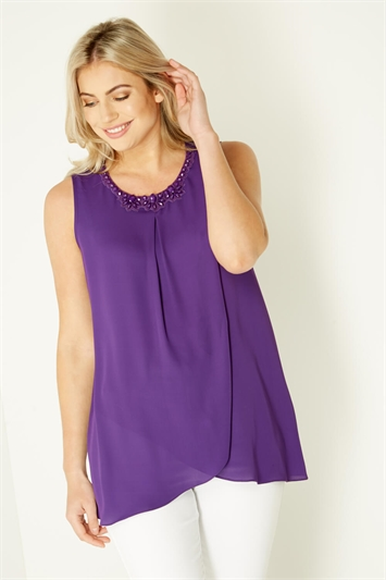 Asymmetric Top with Embellished Neckline