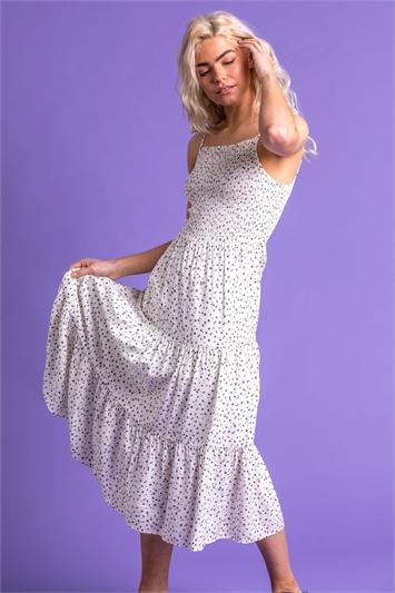 Ditsy Spot Print Tiered Dress