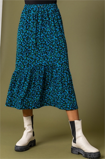 Blue Floral Curved Hem Midi Skirt, Image 1 of 4