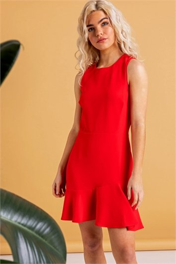 Sleeveless Peplum Hem Dress