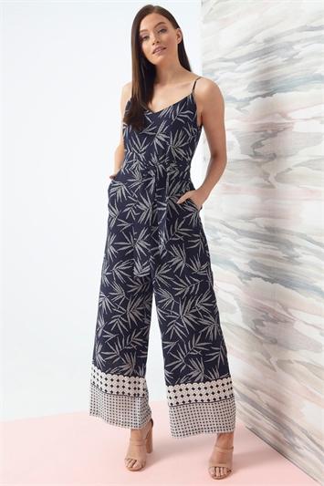 Leaf Border Print Jumpsuit