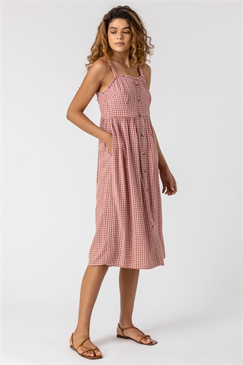 Gingham Print Button Down Sun Dress