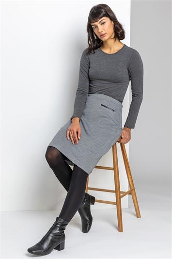 Black Two Tone Textured Mini Skirt