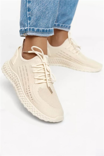 Beige Lace Up Trainers
