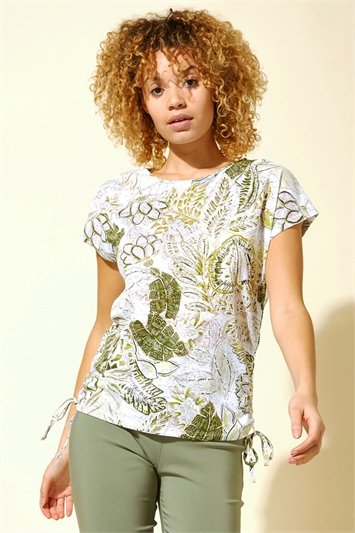 Burnout Tropical Print Ruched T-Shirt