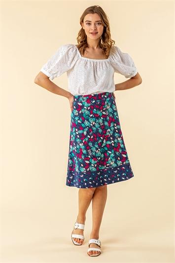 A Line Leaf Print Contrast Skirt