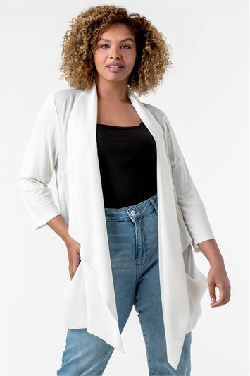 Ivory Curve Woven Front Jersey Cardigan