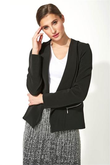 Textured Silver Zip Detail Jacket