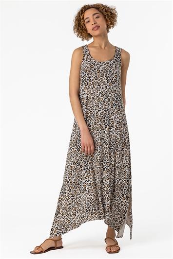 Stone Cheetah Print Hanky Hem Maxi