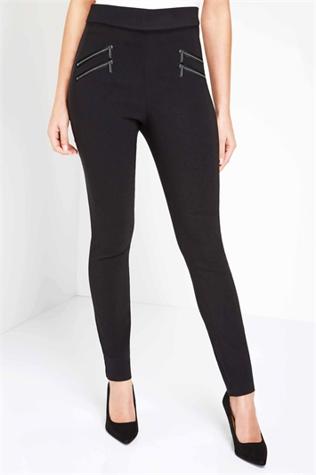 Black Zip Detail Stretch Trouser, Image 1 of 4