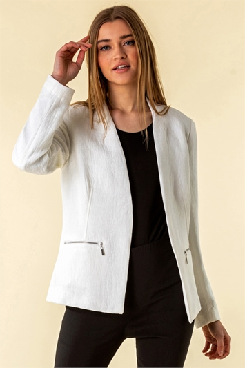 Zip Detail Pleat Jacket