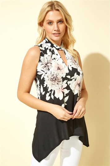 Floral Twist Neck Vest Top
