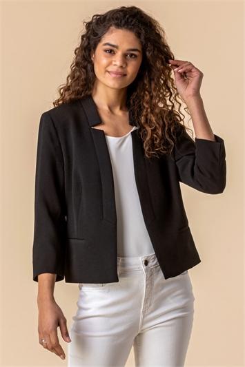 Black Textured Notch Neck Jacket