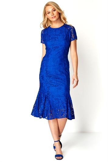 Flute Hem Lace Midi Dress