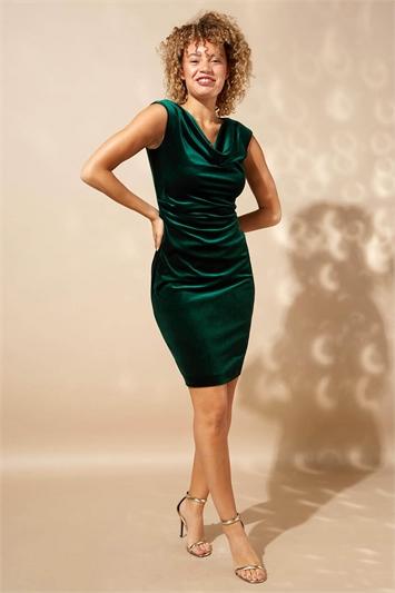 Cowl Neck Velvet Dress