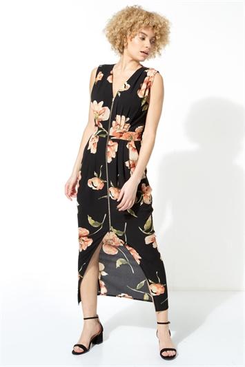 Floral Zip Front Maxi Dress