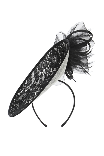 Black Lace Overlay Disc Fascinator