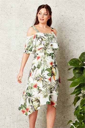 Tropical Print Hanky Hem Dress