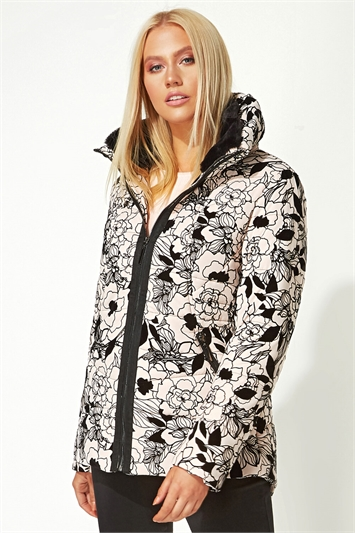 Flocked Zip Through Padded Coat