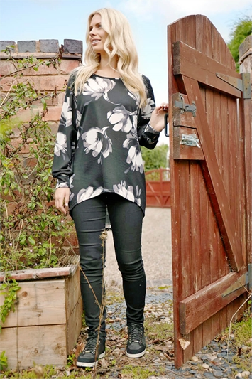 Wooly Touch Floral Print Tunic Top