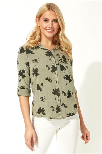 Floral Roll Sleeve Shirt