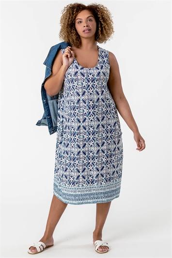 Blue Curve Geo Print Cocoon Dress