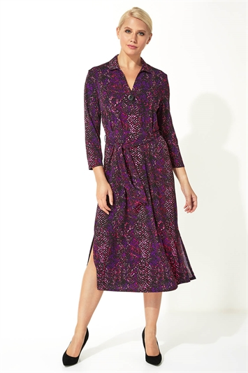 Snake Print Button Detail Shirt Midi Dress