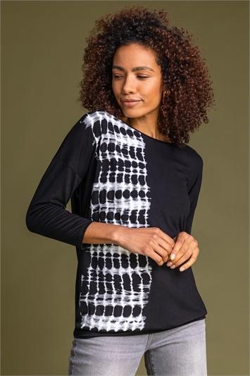 Black Tie Dye Border Print Blouson Top, Image 1 of 5