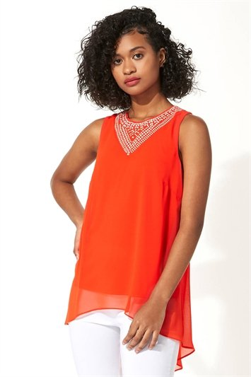 Embellished Chiffon Vest Top