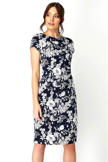 Floral Print Side Ruched Dress