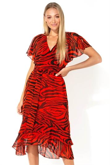 Animal Tiger Print Tie Waist Chiffon Midi Dress