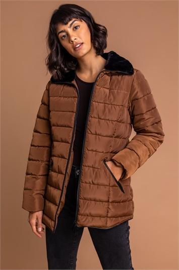 Taupe Short Zip Through Padded Coat, Image 1 of 5