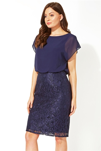 Chiffon Lace Fitted Dress