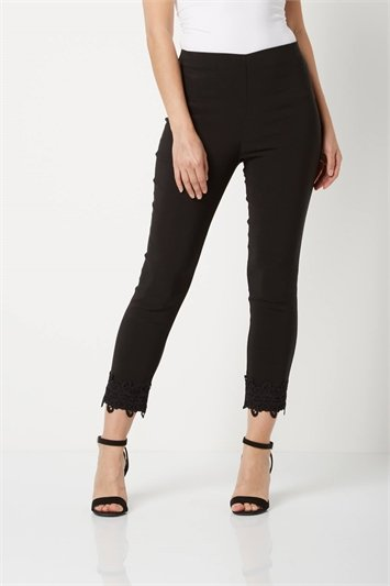 Cropped Stretch Trousers with Lace Hem