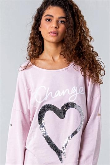 Light Pink Sequin Heart Asymmetric Lounge Top