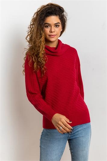 Red Textured Cowl Neck Jumper