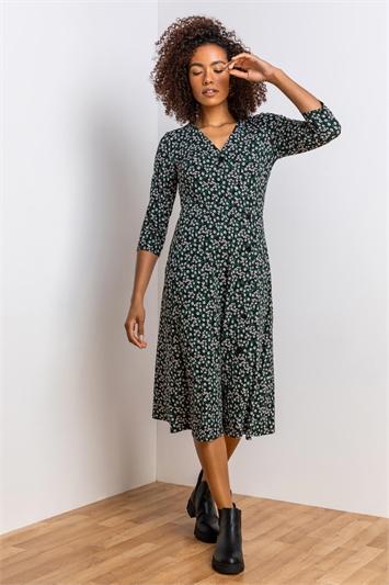Green Ditsy Floral Print Wrap Dress