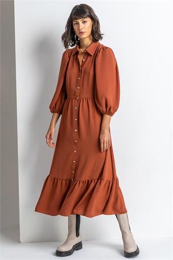 Rust Tiered Midi Length Shirt Dress, Image 1 of 4