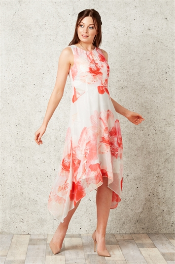 Floral Chiffon Hanky Hem Dress