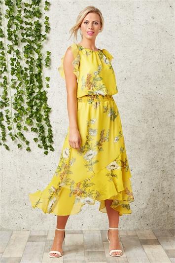Floral Frill Midi Dress