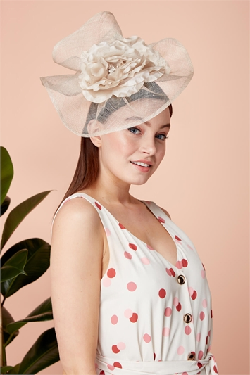 Large Sinamay Flower Veil Fascinator