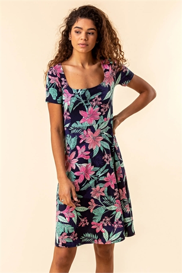 Tropical Floral Square Neck Dress