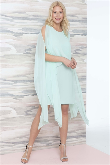 Chiffon Cold Shoulder Sleeve Dress